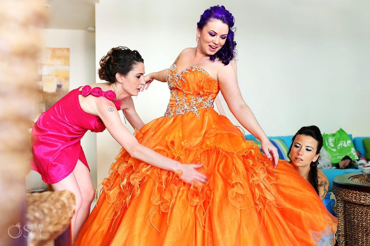 Orange wedding dress El Taj Playa del Carmen Mexico