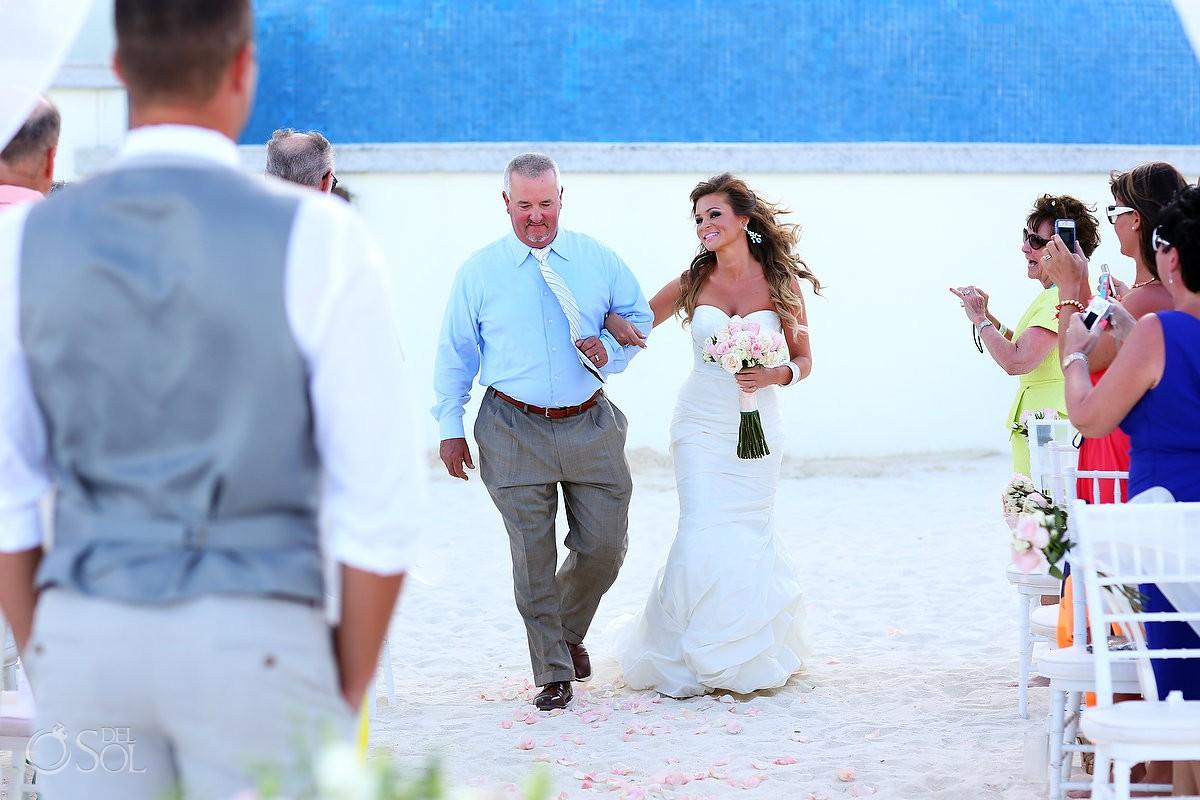 Cancun beach wedding father giving away bride
