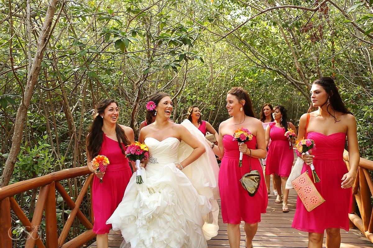 Beach wedding bride bridesmaids pink