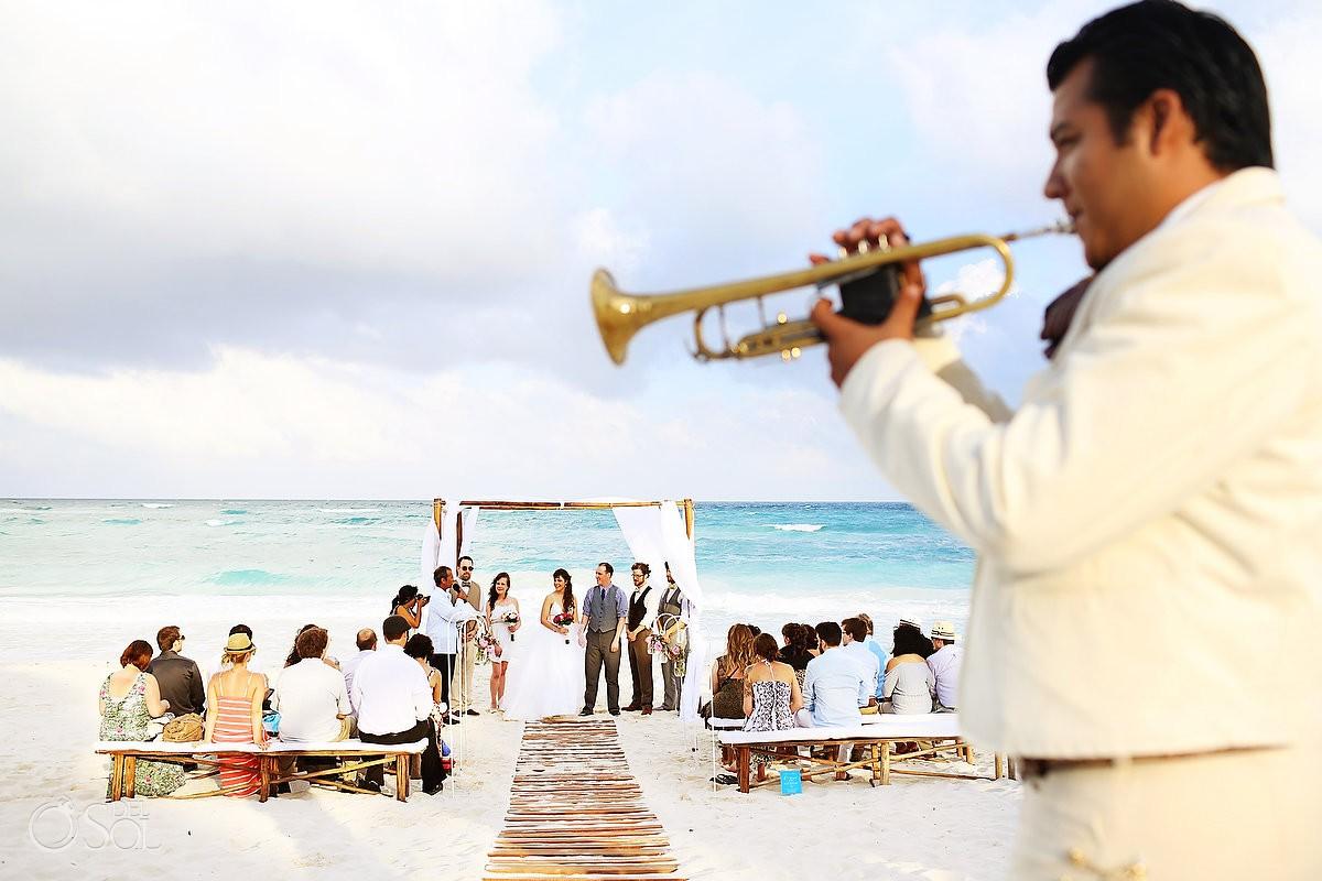Musician beach wedding bride groom tulum #Destinationwedding