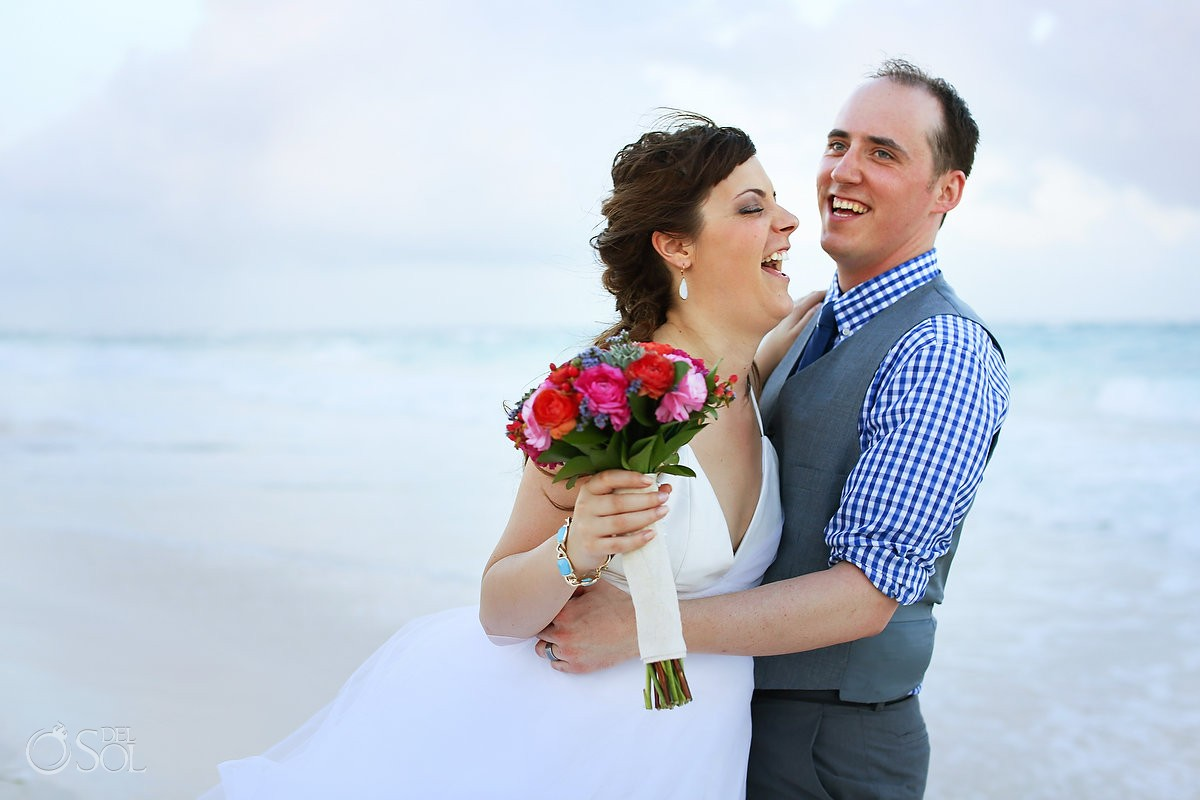Tulum beach wedding newlyweds