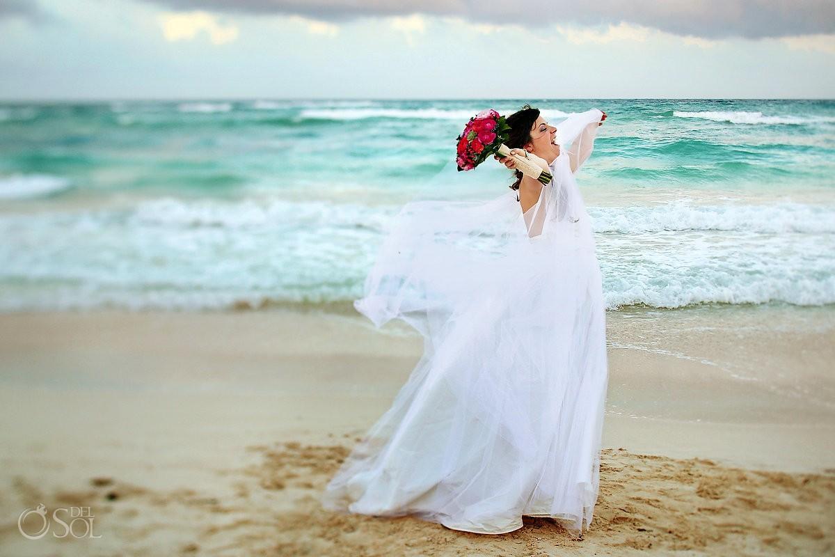 Bride on the beach Akiin Beach Club tulum #Destinationwedding Mexico