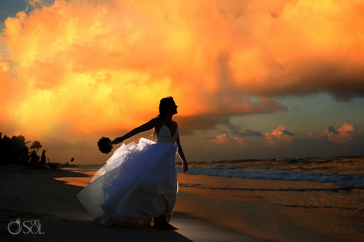 tulum #Destinationwedding sunset at Akiin Beach Club