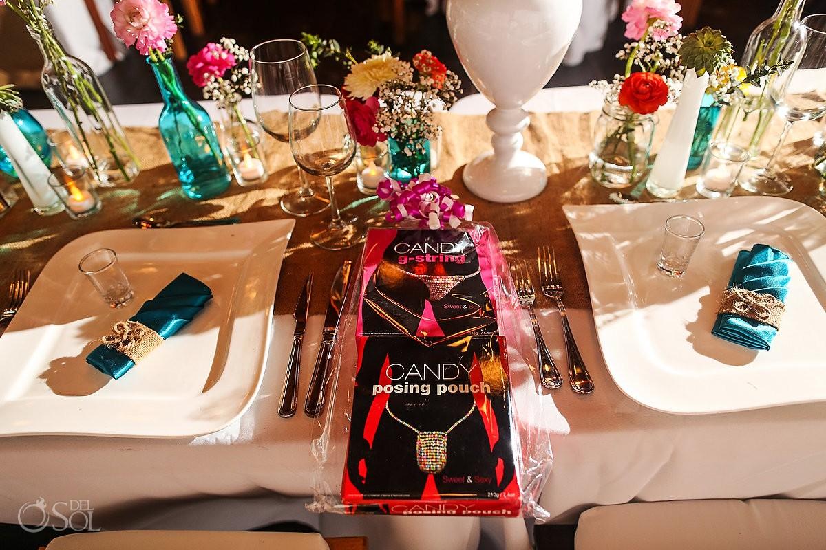 Table set up wedding Akiin Beach Club Tulum