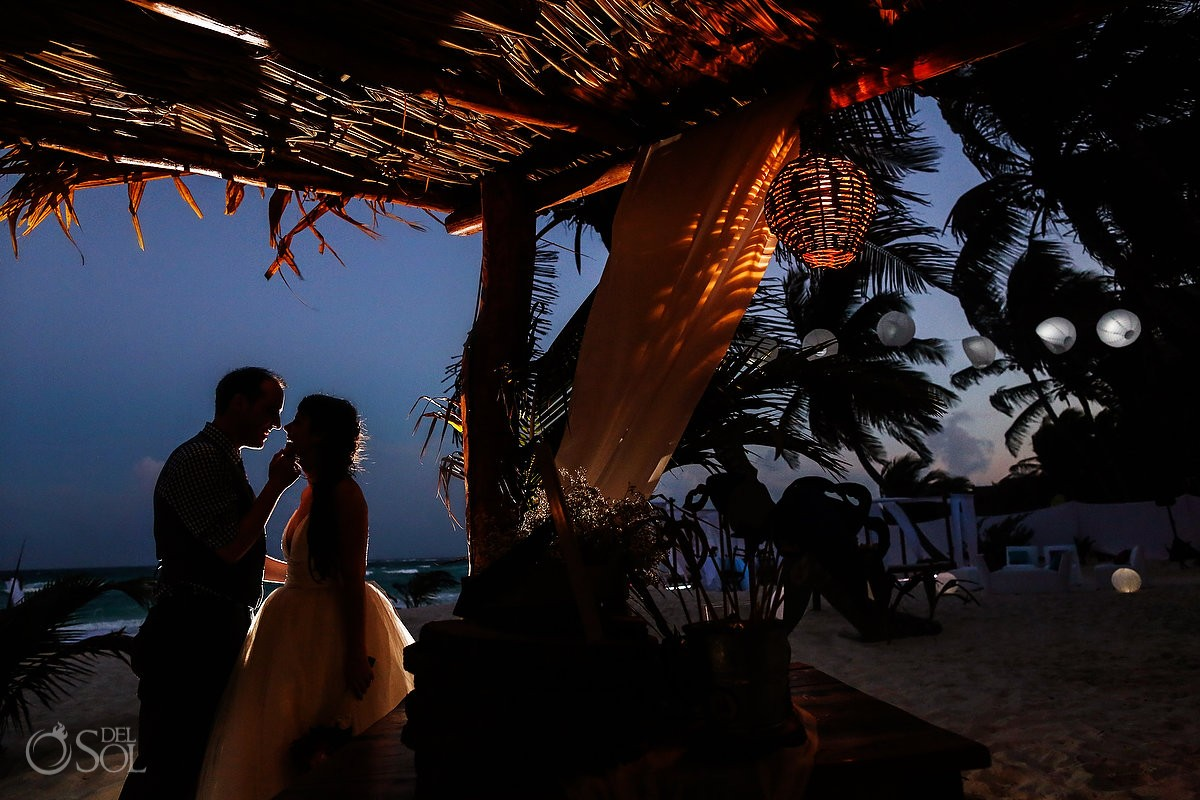 Akiin Beach Club wedding tulum #Destinationwedding bride and groom beach portrait