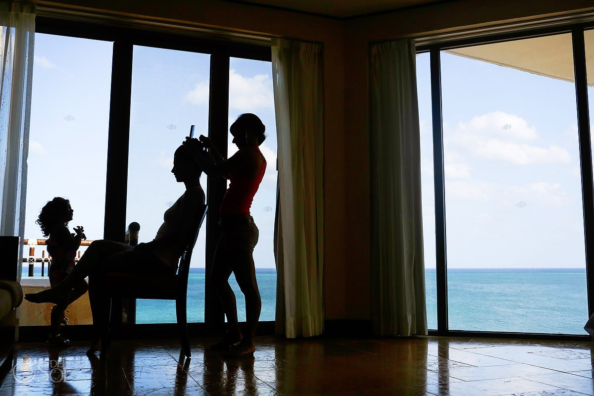 bride getting ready at dreams riviera cancun hotel by now resorts