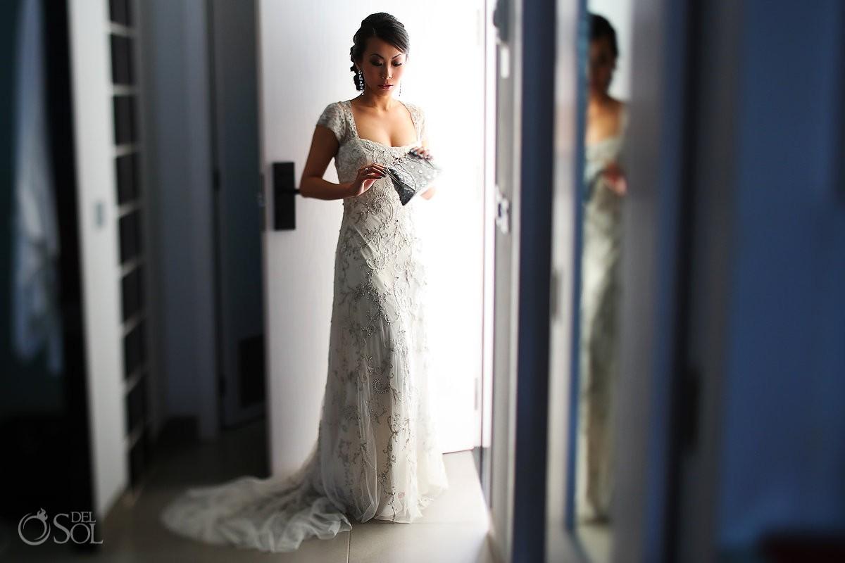 Cancun bride in Lazaro Bridal gown