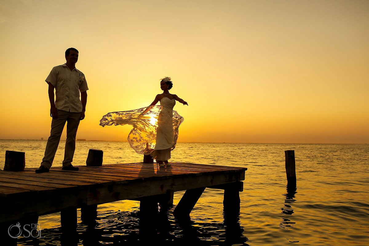 Mexico beach wedding Isla Mujeres Zama Beach sunset