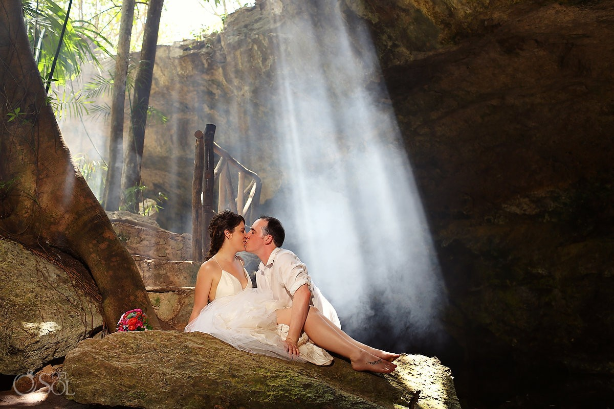 Cenote trash the dress bride and groom