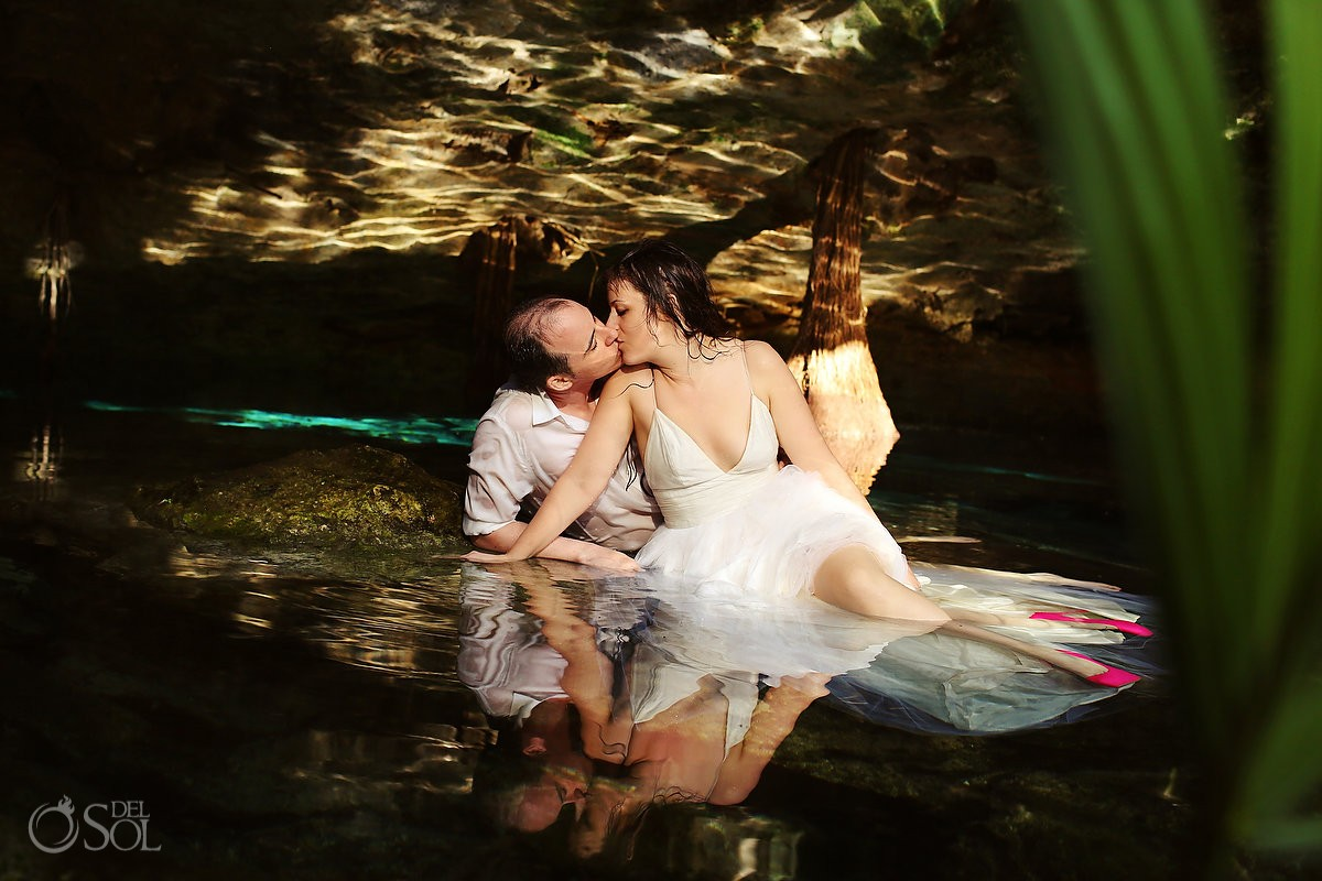 Mexico trash the dress bride and groom cenote