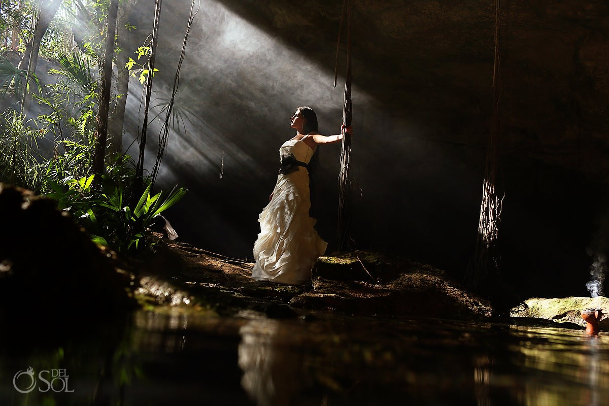 Vera Wang bridal trash the dress cenote