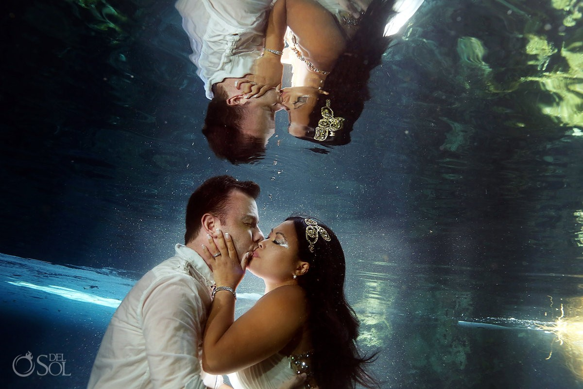Riviera Maya underwater trash the dress cenote