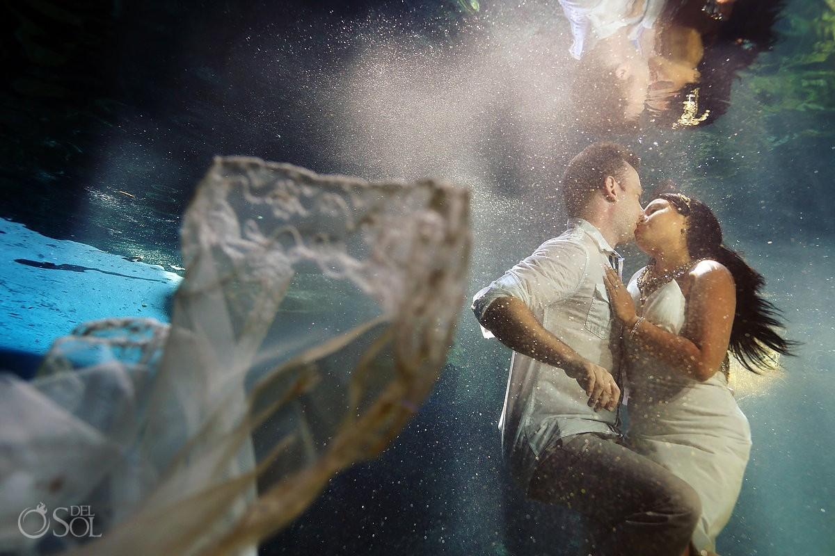 Underwater trash the dress cenote Mexico