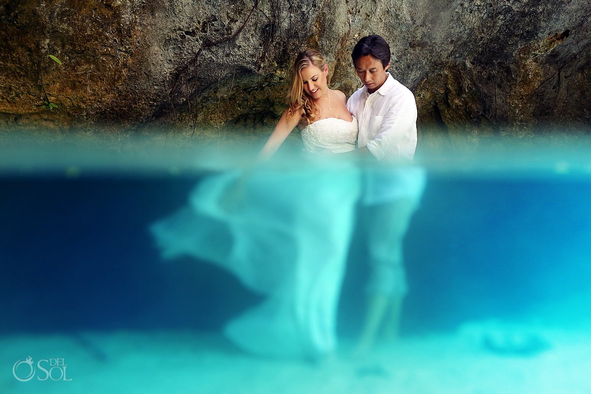Riviera Maya underwater cenote trash the dress