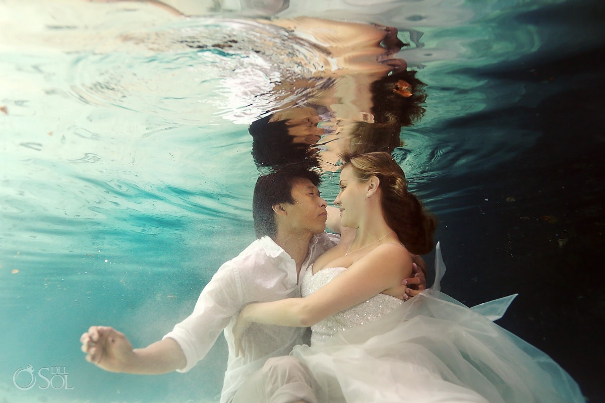 Riviera Maya photography underwater cenote trash the dress