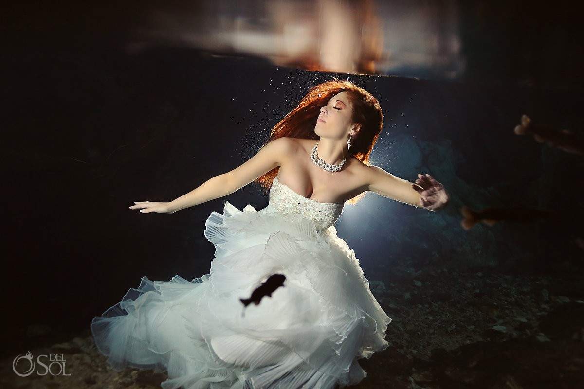 Riviera Maya photography underwater trash the dress cenote