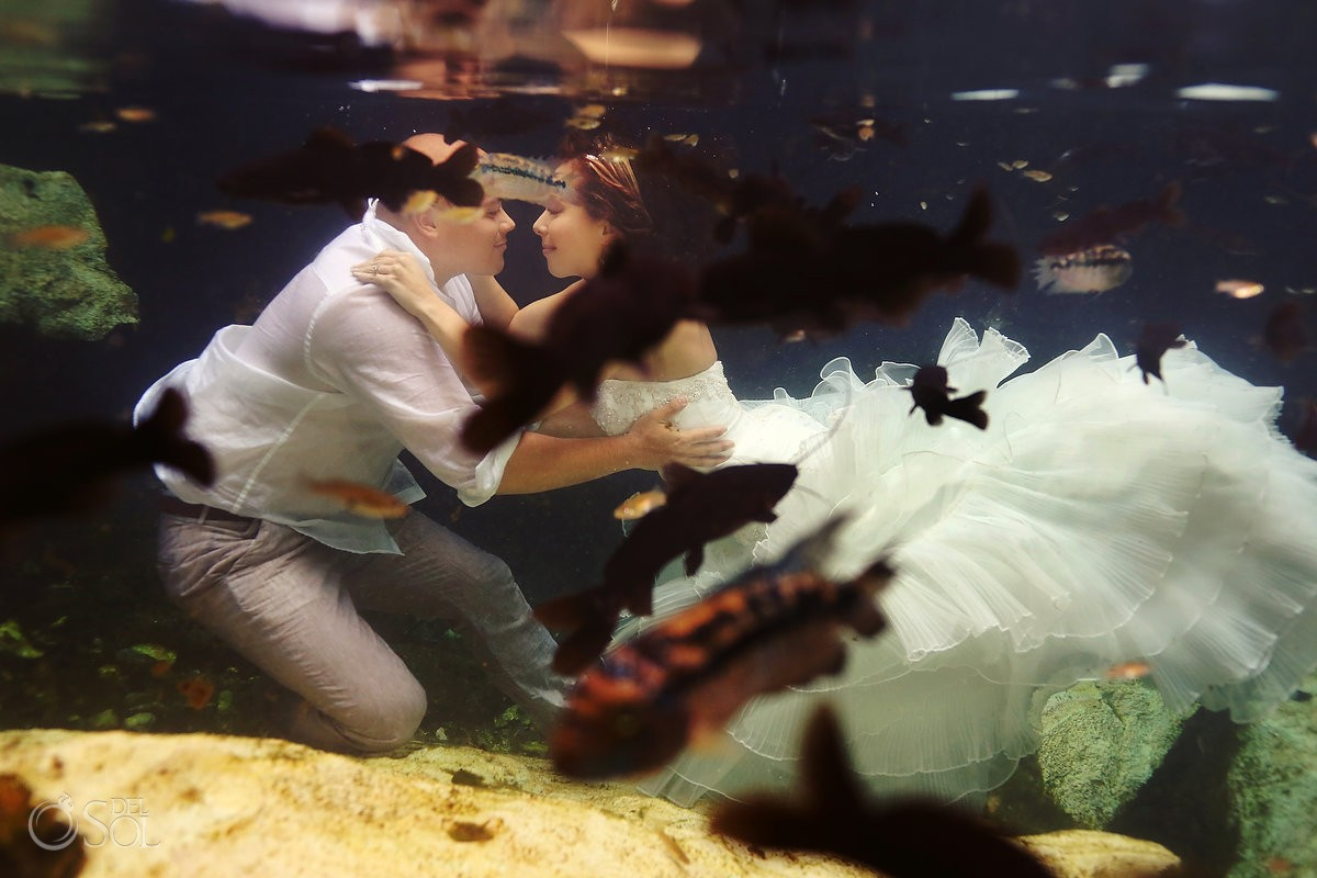 Riviera Maya photography underwater trash the dress