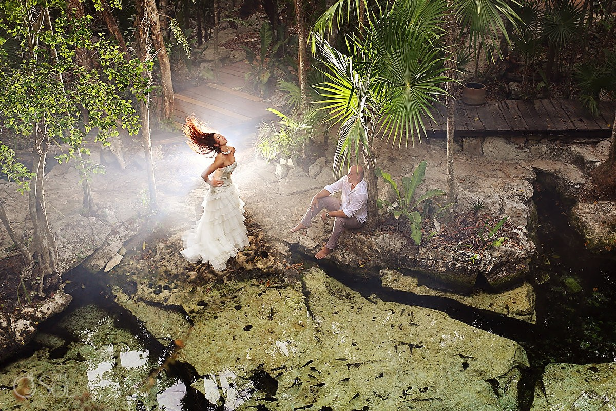 Riviera Maya photography trash the dress cenote