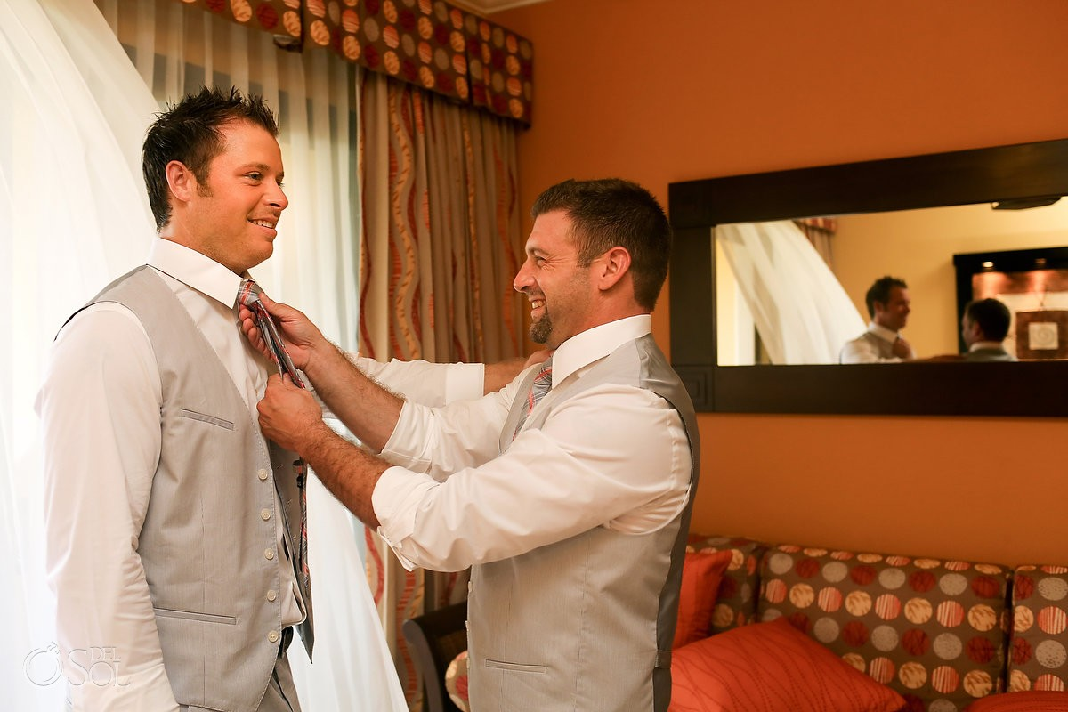 Riviera Maya groom getting ready beach wedding Barcelo Maya Palace
