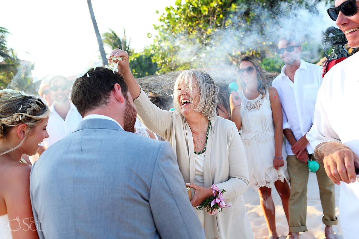 Cosmic Beach wedding Mayan ceremony Esencia Riviera Maya