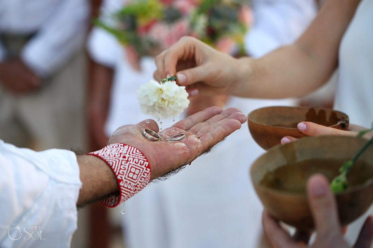 Cosmic Beach wedding Mayan ceremony ring water blessing Esencia Riviera Maya