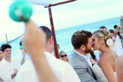 Cosmic Beach wedding Mayan ceremony first kiss Esencia Riviera Maya