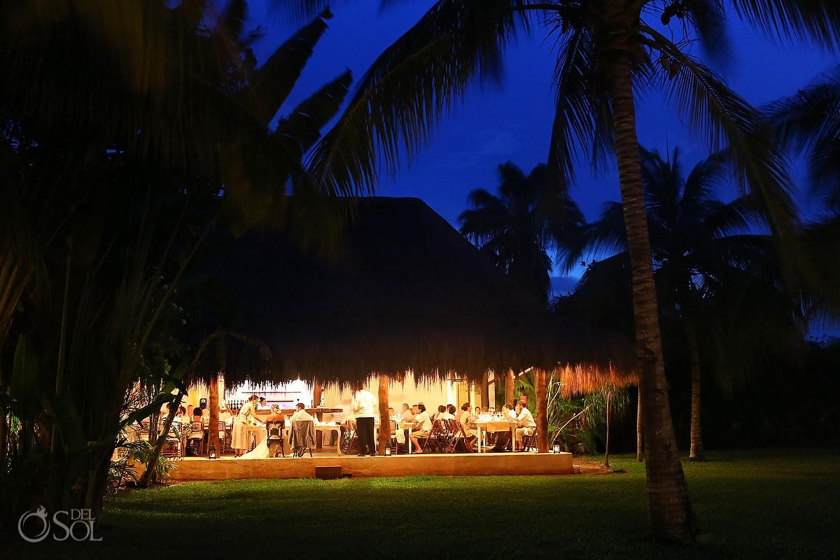 Hotel Esencia wedding reception at dusk