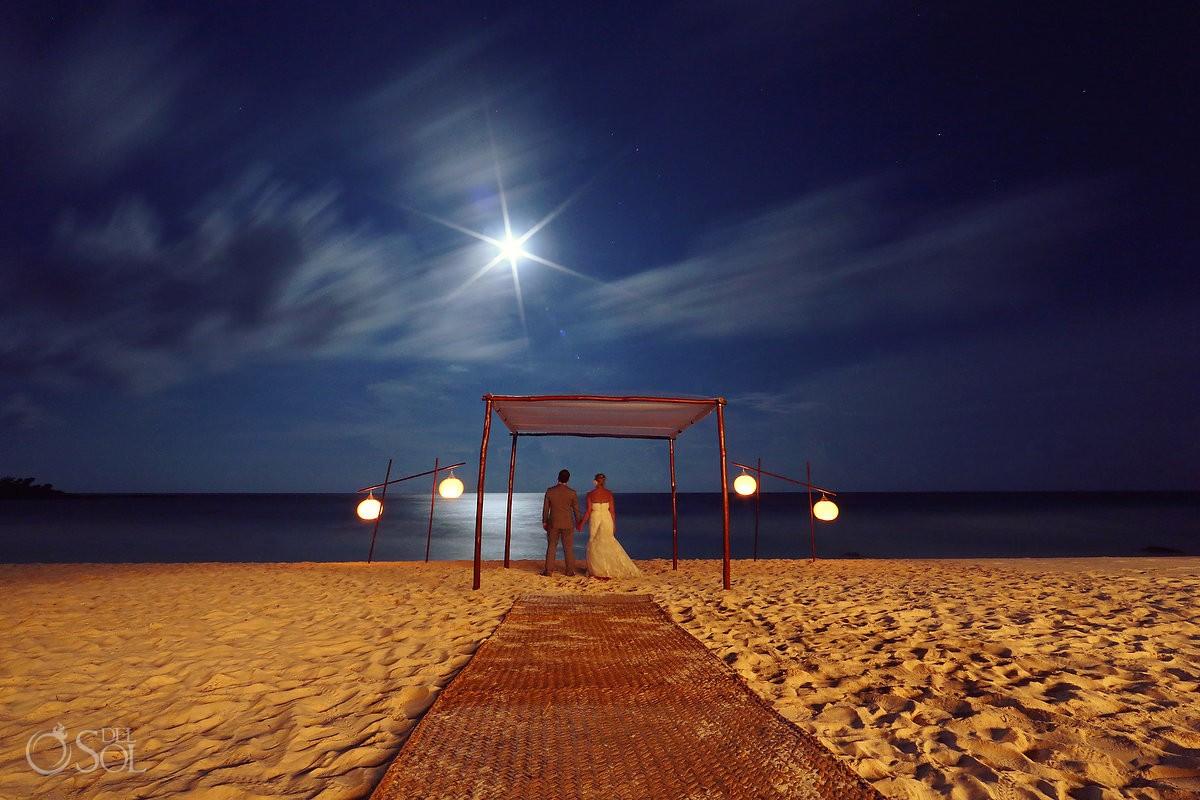 Full moon night wedding portrait tripod long exposure photography Esencia Riviera Maya