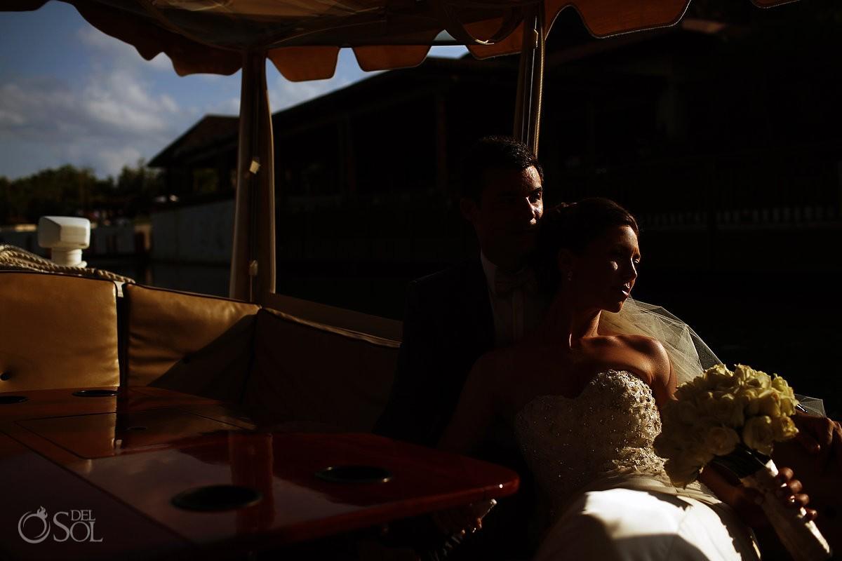 wedding day romantic boatride at the Fairmont Mayakoba