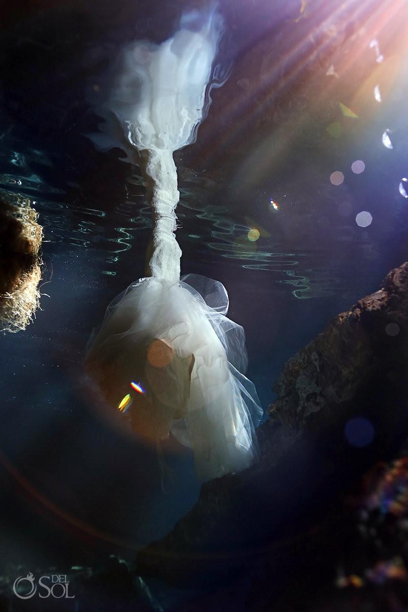 Riviera Maya underwater cenote trash the dress photography