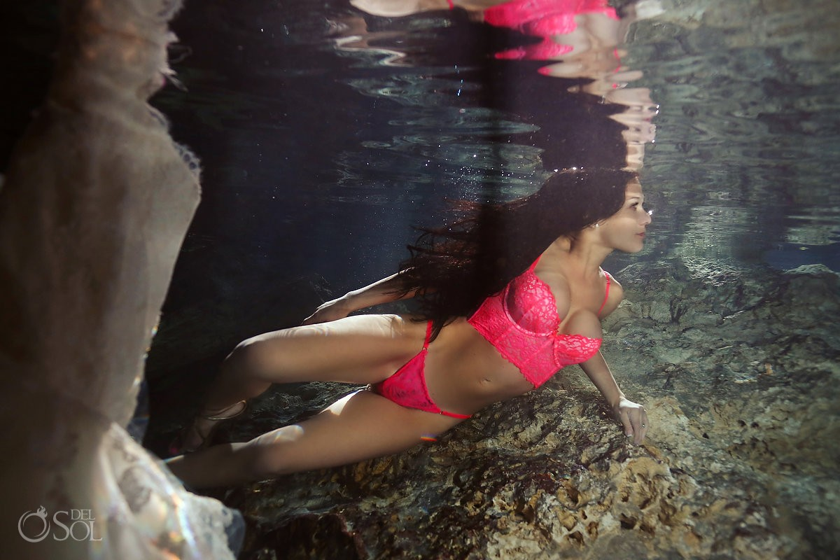 boudoir session underwater with semi naked bride
