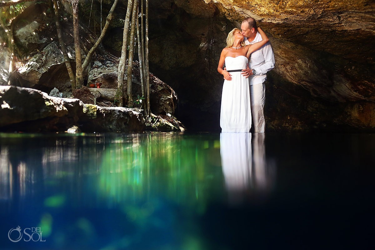 Riviera Maya photography cenote trash the dress