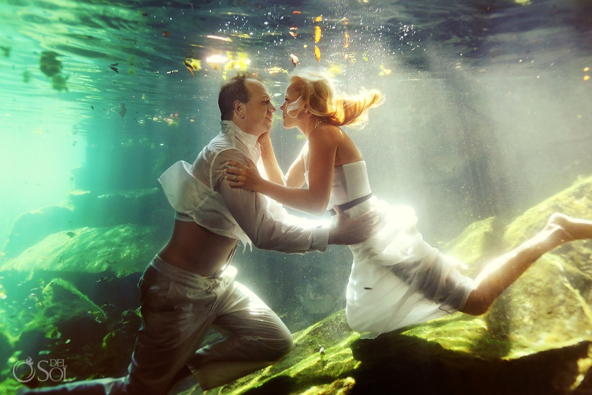Riviera Maya photography cenote trash the dress underwater
