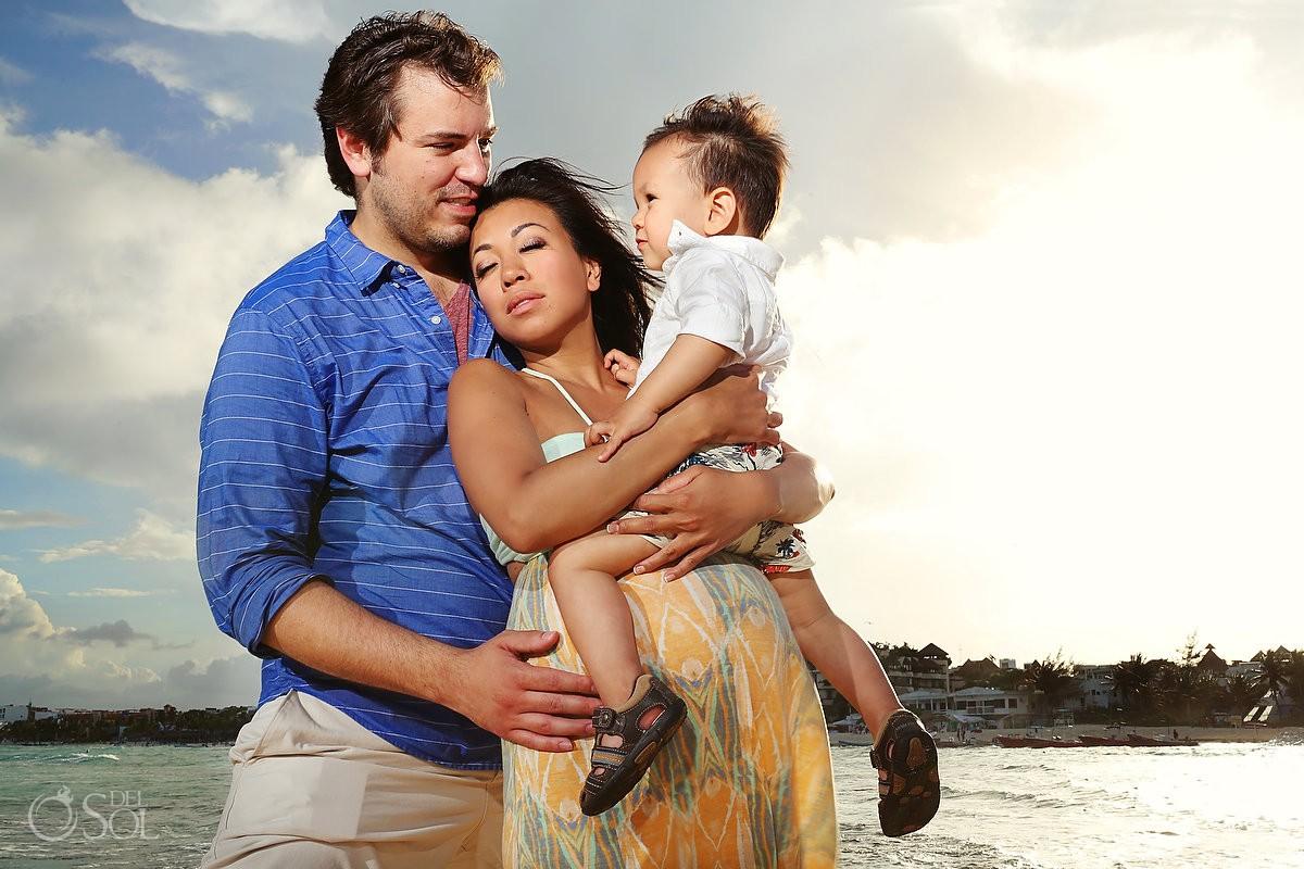 Family maternity portraits beach Playa del Carmen Riviera Maya Mexico photography