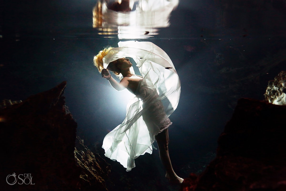 Riviera Maya photography underwater trash the dress Mexico