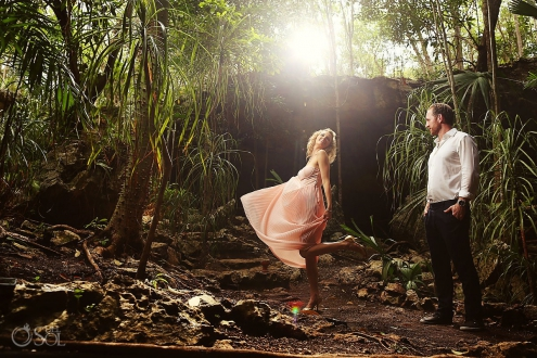 Riviera Maya photography cenote trash the dress Mexico
