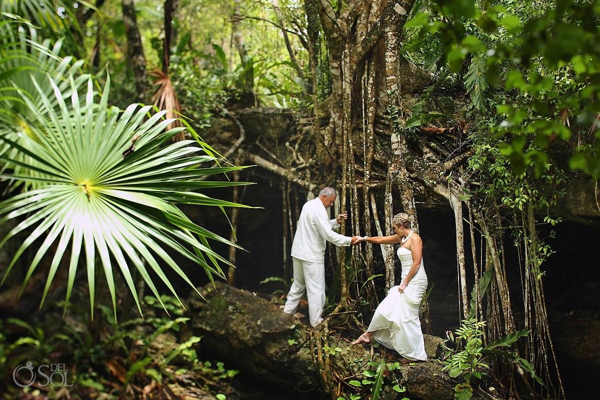 Riviera Maya photography trash the dress cenote