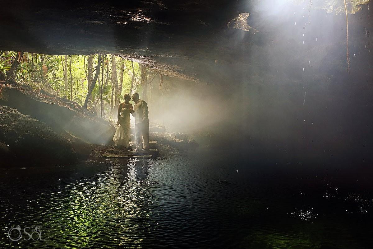 Riviera Maya photography trash the dress cenote Mexico
