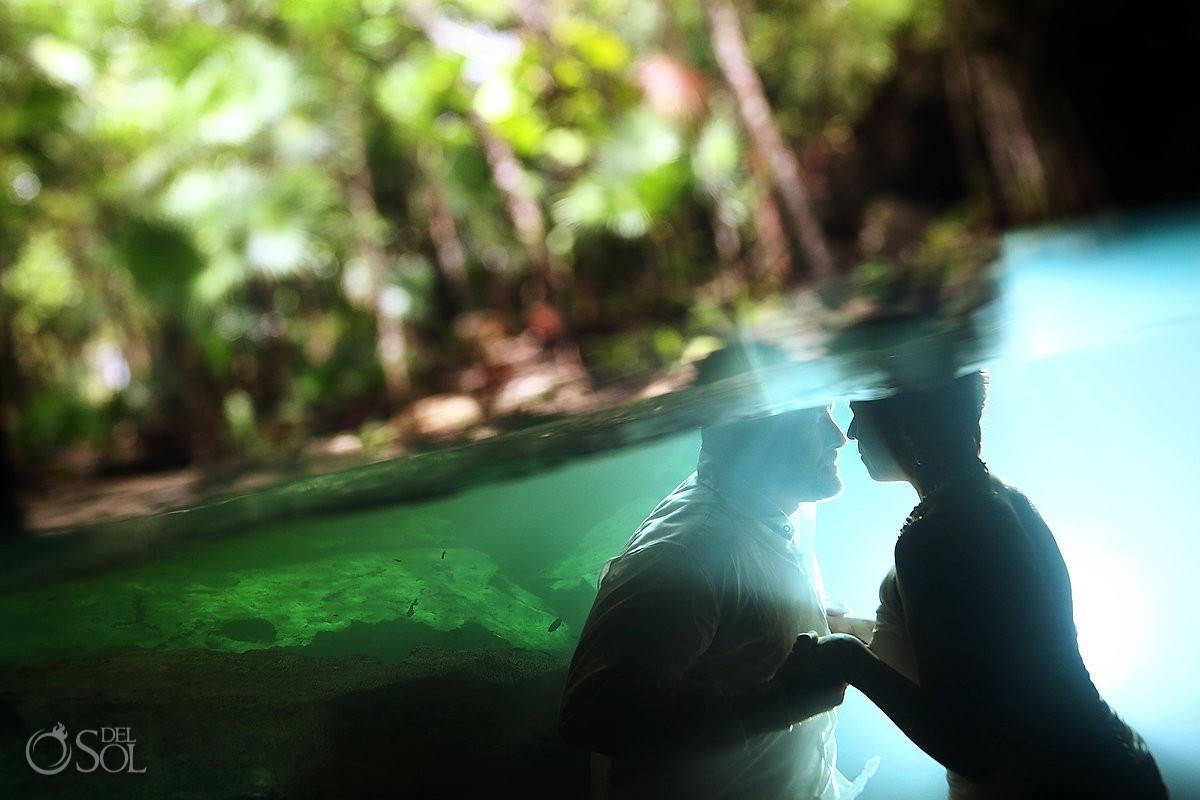 Riviera Maya underwater photography cenote trash the dress Mexico