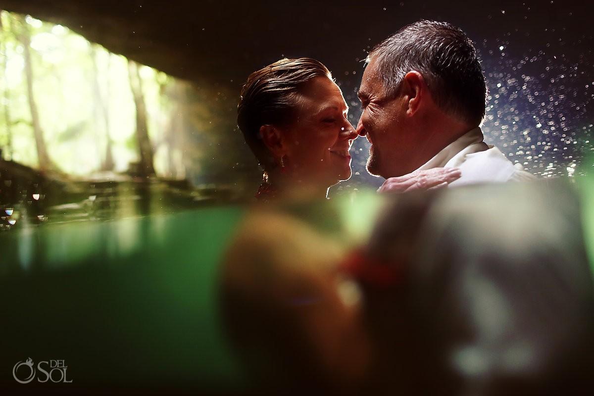 Riviera Maya photography underwater cenote trash the dress Mexico
