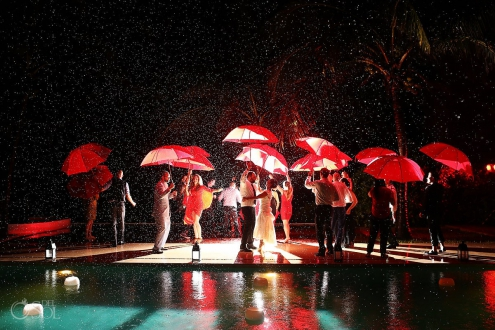 Hotel Esencia boutique wedding Riviera Maya wedding rain