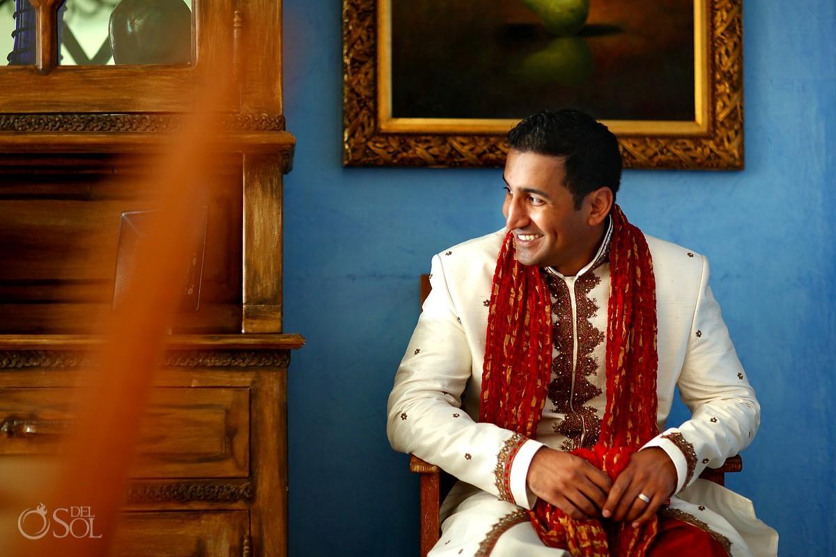 Groom portrait Hindu Indian Wedding Riviera Maya Iberostar Mexico