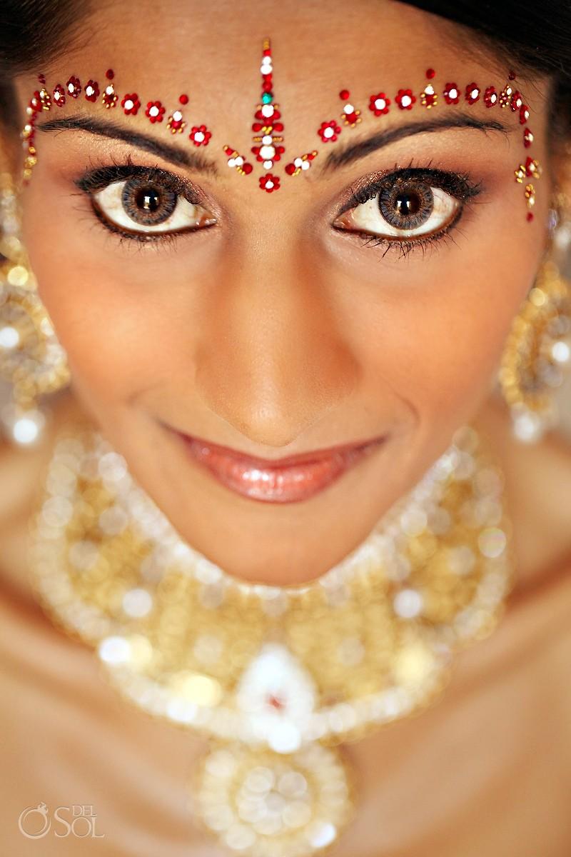 Bride portrait Hindu Indian wedding Riviera Maya Iberostar Mexico