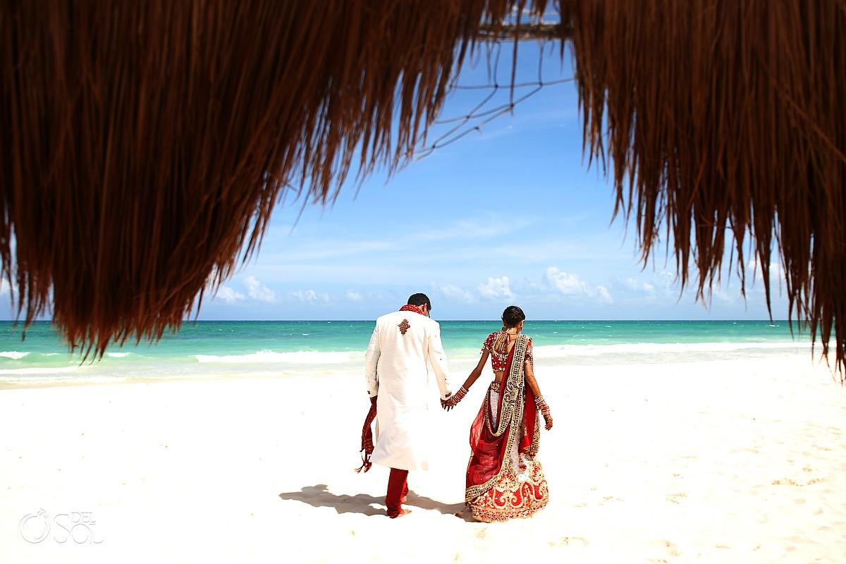 Bride and groom beach Hindu wedding Riviera Maya Iberostar Mexico
