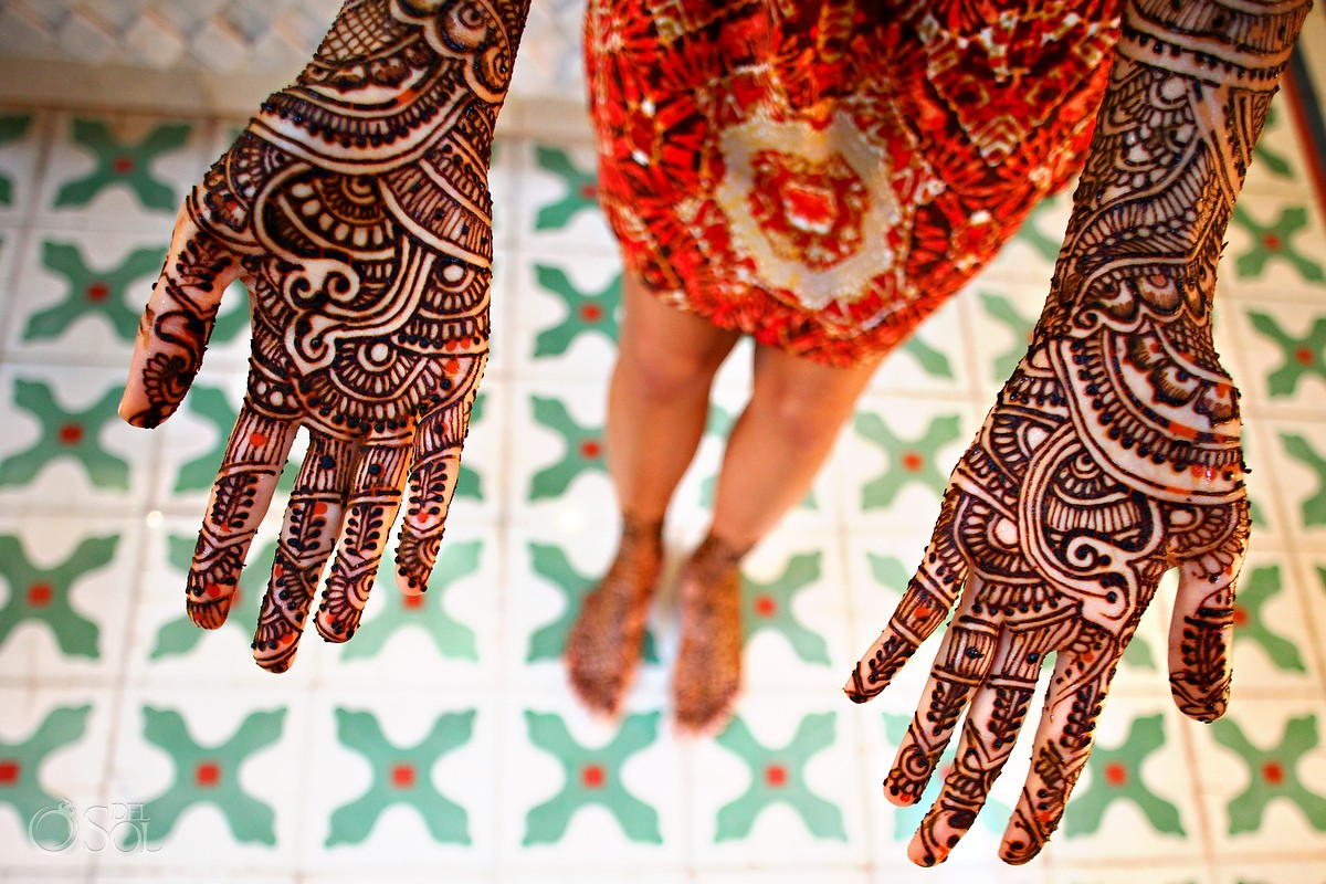 mehndi pattern on hands at Hindu Indian wedding party Riviera Maya Iberostar Mexico