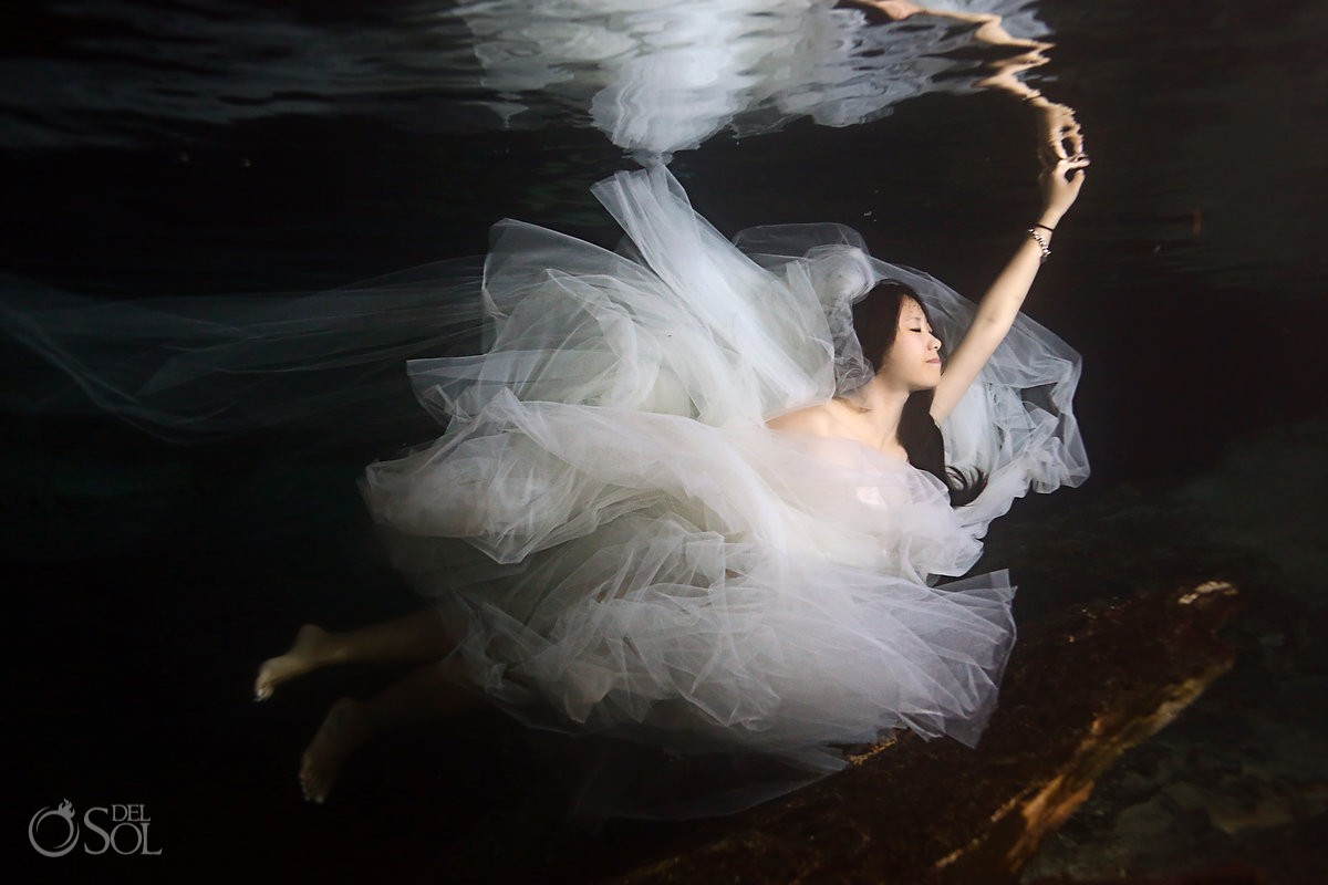 Riviera Maya underwater trash the dress Mexico