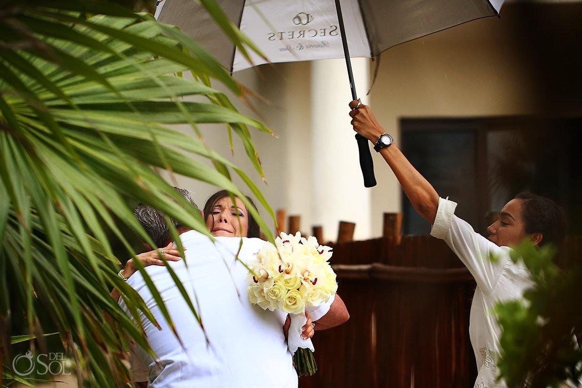 Rain wedding Riviera Maya Secrets Maroma Mexico