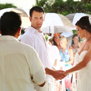 Rainy wedding Riviera Maya beach Secrets Maroma Mexico