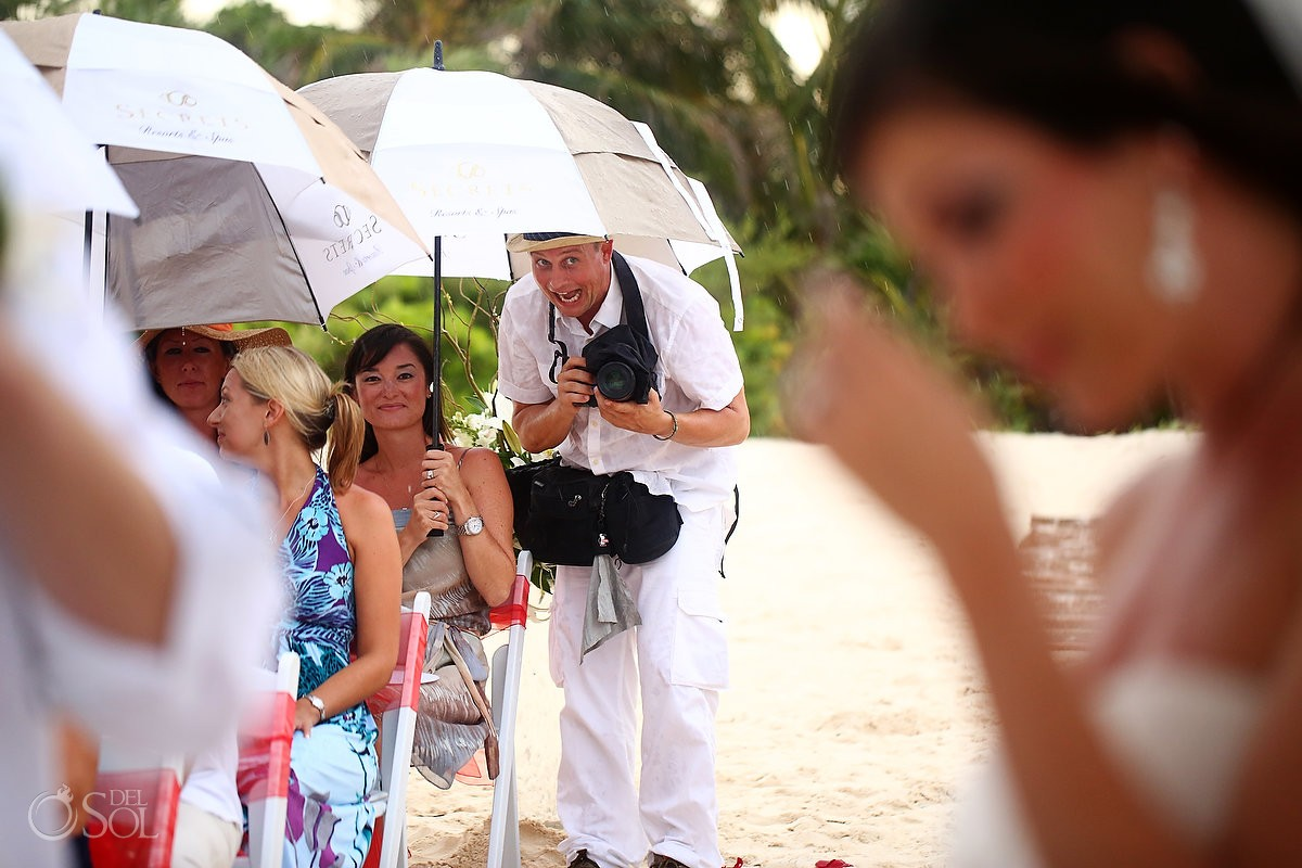 Rainy wedding Riviera Maya beach Secrets Maroma Mexico