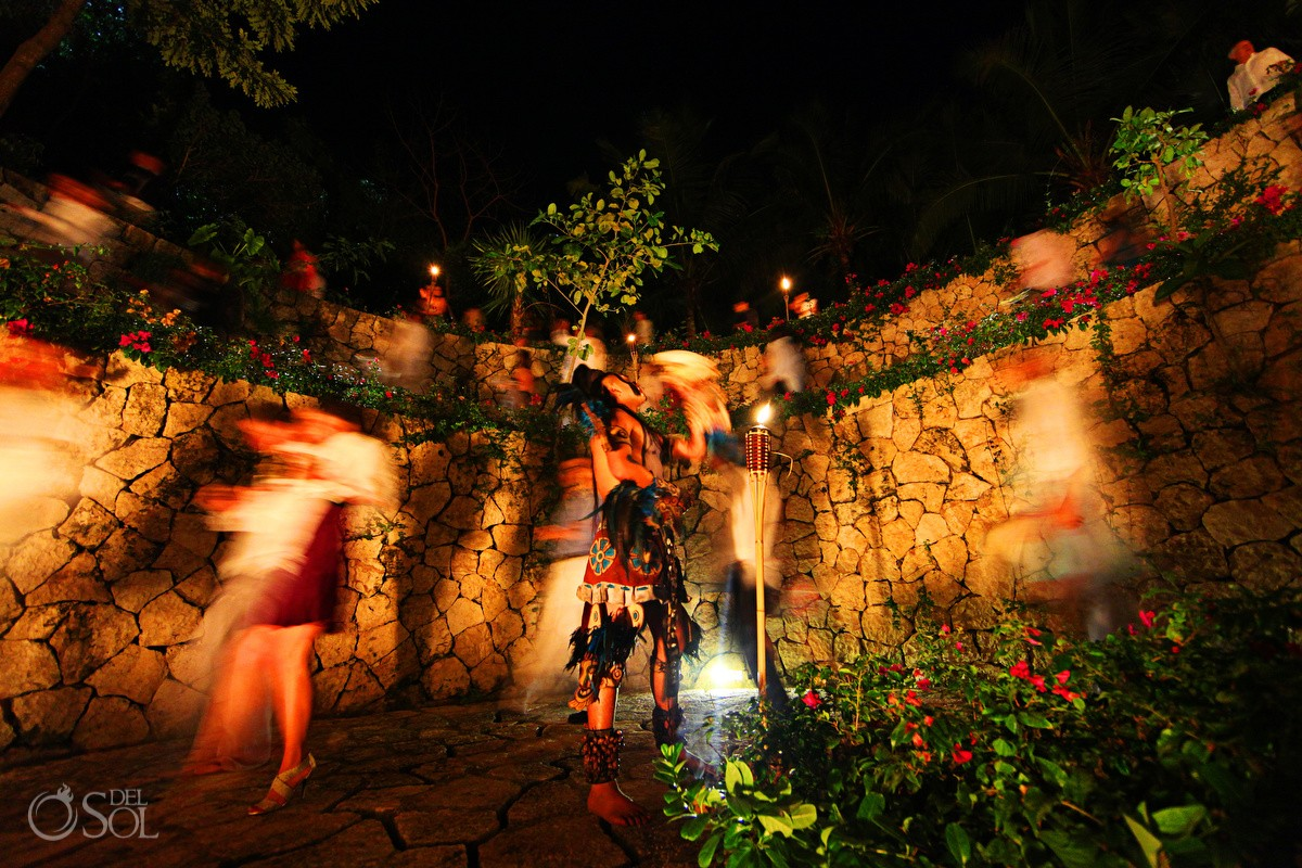 Pre Hispanicac Mayan dancers shamans priests at Xcaret wedding, Rivera Maya, Mexico.